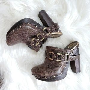 Vince Camuto Distressed Studded Mules